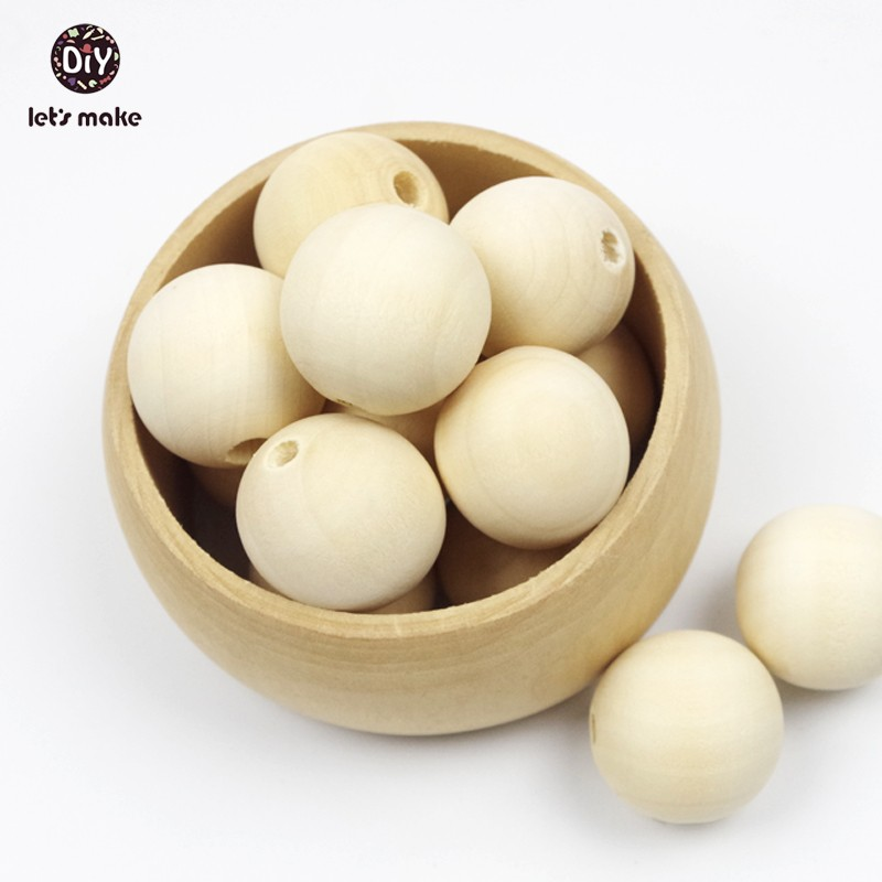 Let's Make Wooden Beads 12-20mm Round Natural Wooden Beads Unfinished 200 Pieces Baby Teether Wooden Teething Baby Teether