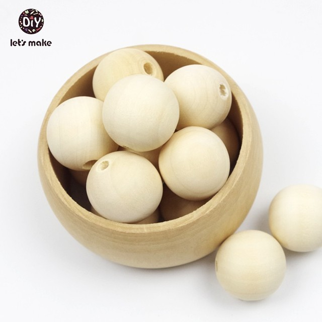 Let's Make Wooden Beads 12-20mm Round Natural Wooden Beads-Unfinished 200 Pieces Baby Teether Wooden Teething Nursing Pendant
