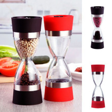 Manual 2 In 1 Salt Pepper Mill Grinder ,Stainless Steel , Kitchen Tool, Spice Container Seasoning bottle