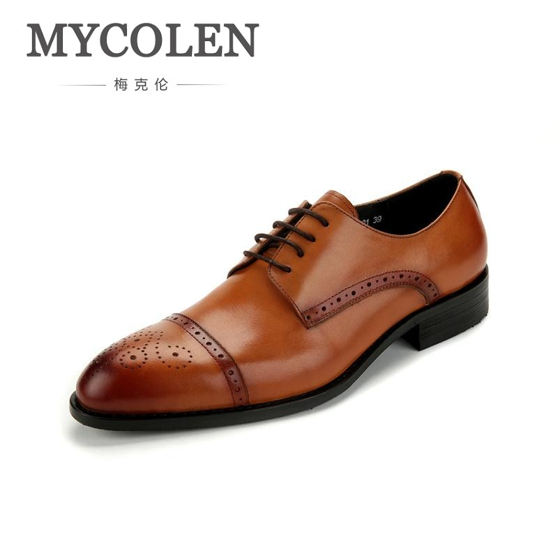 все цены на MYCOLEN Genuine Leather Pointed Toe Mens Shoes Brogue Breathable Carved For Men Formal Wedding Dress Shoes Zapatos Hombre