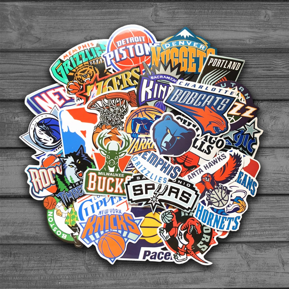 32pcs/Lot Brand Basketball NBA Logo Stickers For Luggage Suitcase Skateboard Motor Car Pegatinas Adesivi Waterproof Sticker Cool фанатская атрибутика other nba exclusive collection logo