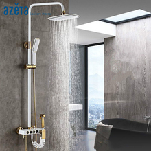 цены Bathroom Shower Set Luxury White Gold Four Function With Bidet Shower Bathroom Shower Set Bathtub Faucet Shower System AT7768B