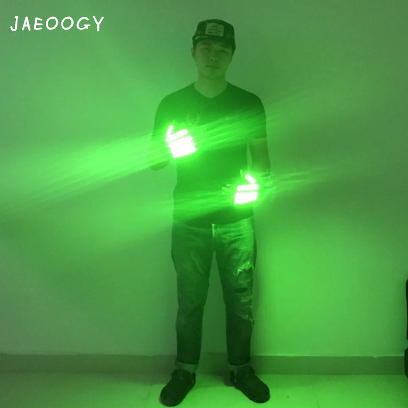 Free Shipping Green LED Gloves Robot Dance Lighted Gloves Stage Performance Bar Night Field Fluorescent Props