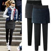 women Plus velvet thicker leggings pants wear fake two pants skirt Autumn winter large size 6XL warm package hip