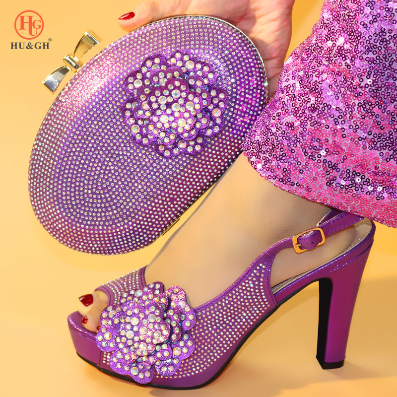 Y Juego rosado A Fiesta plata Púrpura Bolsa verde lavanda Zapatos Para Negro Boda Rom África púrpura Con Bolso Color Zapato Italiano 2019 De P7HIfI