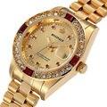 3Bar Superior Rhinestone de Lujo de la Marca Mujeres Reloj de Cuarzo de Oro Impermeable de la Señora Mujeres Del Reloj Pulsera de Diamantes Reloj montre femme