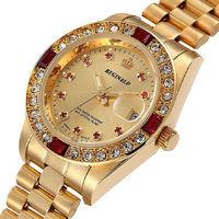 Barato Reloj de lujo con diamantes de imitación para mujer, reloj de pulsera resistente al agua de cuarzo dorado 3Bar para mujer, reloj de pulsera con diamantes para mujer