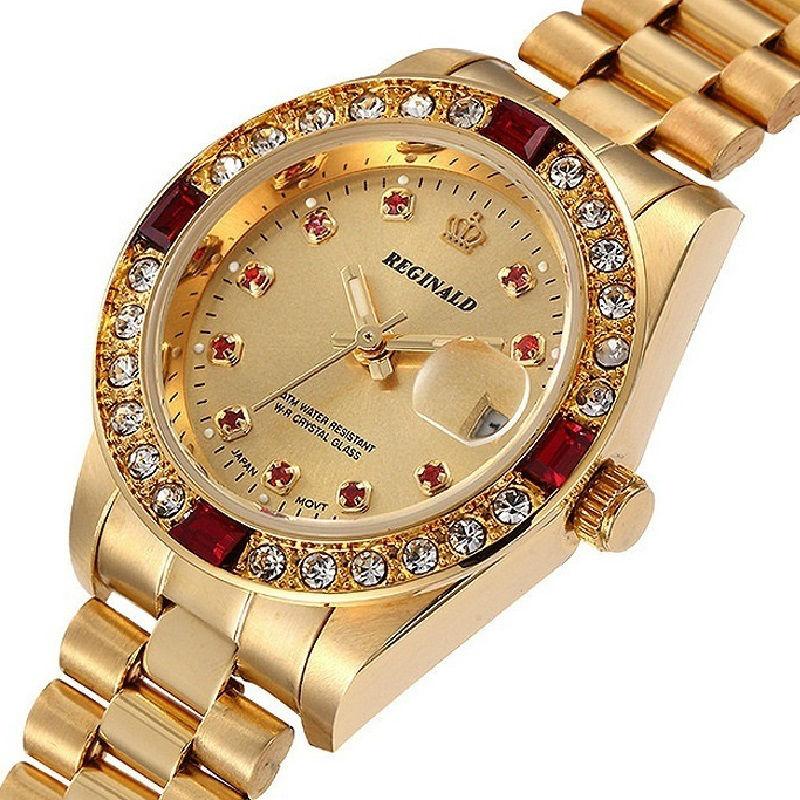 Prix pour Strass Top Marque De Luxe Femmes Montre À Quartz Or 3Bar Étanche Dame Montre-Bracelet Femmes Diamant Bracelet Horloge montre femme