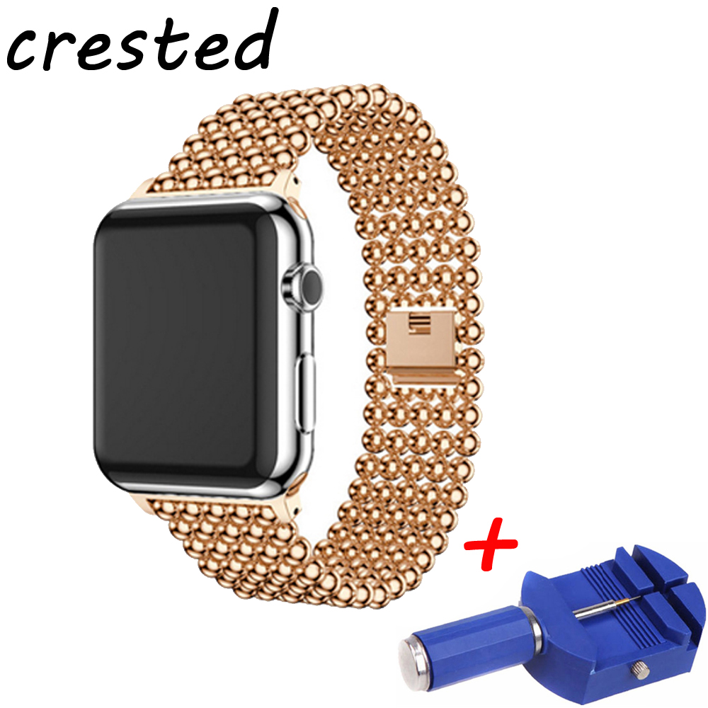 CRESTED Stainless Steel link Bracelet watch strap For Apple Watch Band 42mm 38mm watchband for iwatch 3/2/1 for old customers crested sport stainless steel ceramics watch strap for apple watch band 42mm 38mm link bracelet metal strap for iwatch 3 2 1