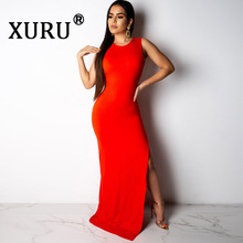 XURU Summer New Hot Women's Sexy Dress Solid Color One Button Open Back Personality Back Metal Belt Dress Split Sleeveless Dress color contrast open back casual dress