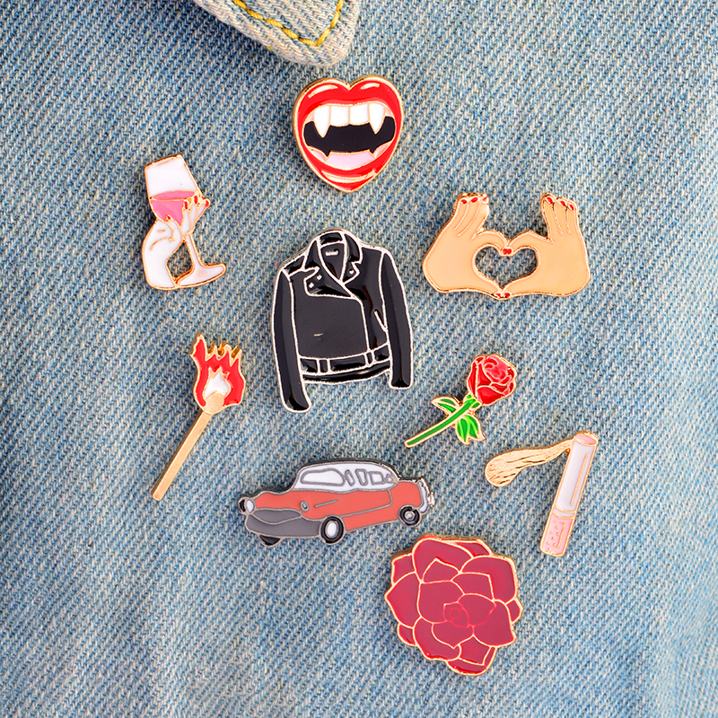 Flower Rose Car Heart Brooches