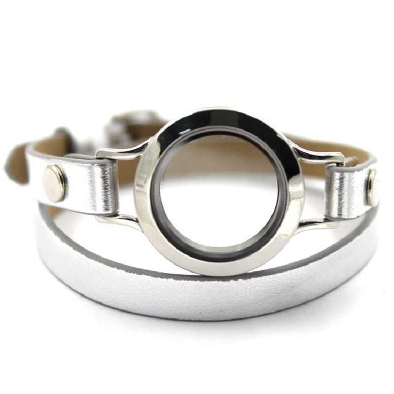 1Pc Drijvende Glas Medaillon Armbanden Wrap Zilver Leer Legering 30Mm Schroef Medaillon Armband Fit Memory Medaillon Charm