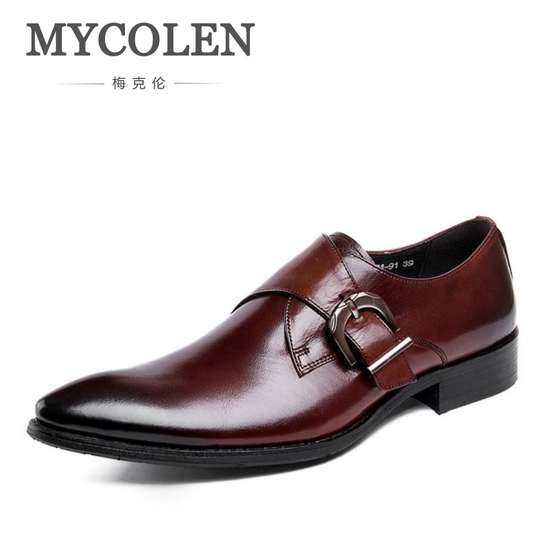 MYCOLEN Fashion Comfort Genuine Leather Men Shoes Bridegroom Dress Wedding Formal Male Shoes New Buckle Strap Prom Party 2018 formal party prom dress men wedding suits with pant black velvet shawl lapel slim fit tuxedos for men groom suit bridegroom