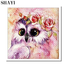 Diy 5D Cute Owl Diamond Painted Embroidery Crafts Round Crystal Cross Embroidered Wall Decoration Gift. L209