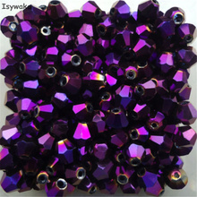 Isywaka Sale New Purple 100pcs 4mm Bicone Austria Crystal Beads charm Glass Beads Loose Spacer Bead for DIY Jewelry Making
