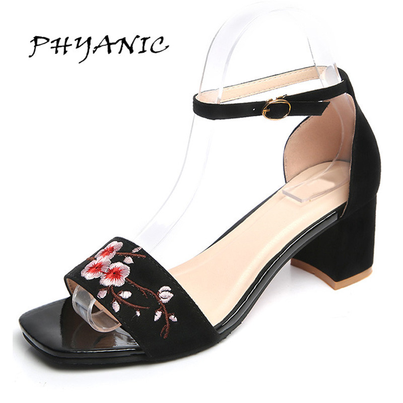 PHYANIC Women Sandals Embroidery Flower Chunky Heel National Comfortable Open Toe Silk Summer Sandals Chaussure Femme PHY9999 peacock crystals slingbacks 8cm chunky heels open toe summer shoe sandals chaussure femme de marque chaussure femme talon ouvert
