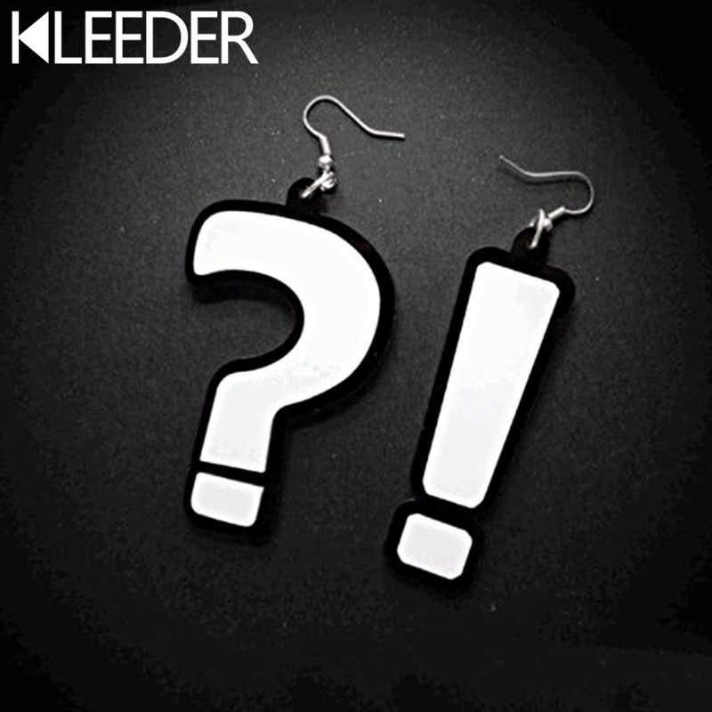 KLEEDER Hiphop Personality Asymmetric Earrings Question mark Exclamation point Drop Earrings Women Fashion Casual Party Jewelry