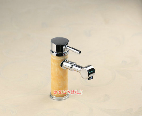 Free shipping European style luxury marble brass hotel artistic faucet sanitary Tap copper bibcock Chrome 2 hoses single hand