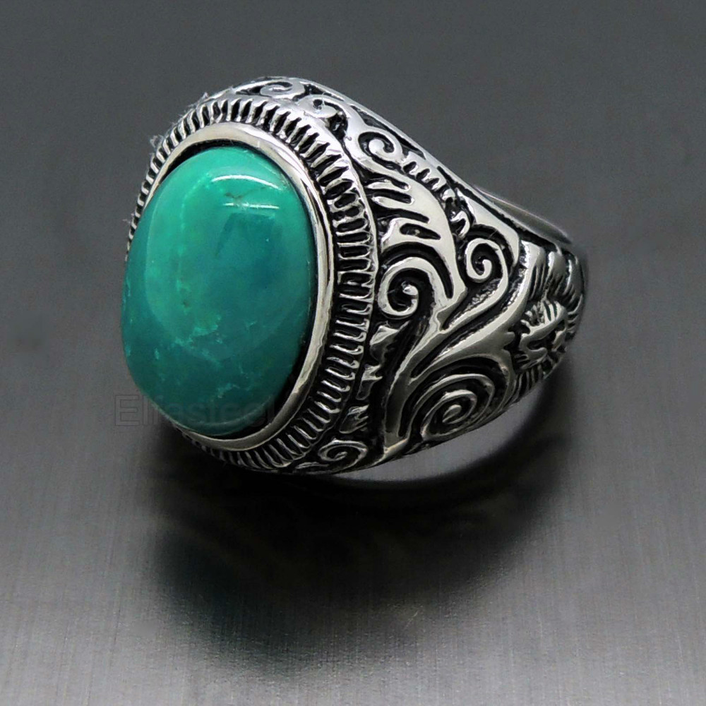 New Fashion 2015 Men S Large Natural Oval Turquoise Black