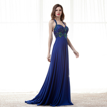 2018 Backlacegirl Halter Royal Blue Prom Dress Party Dress