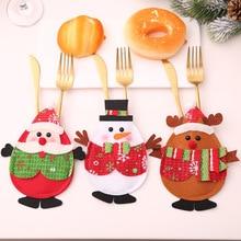 3Pcs Kawaii Santa Claus Snowman Elk Knife Fork Bag Christmas Decorations For Home Table Dinner Decor Xmas New Year Decor