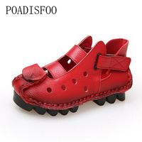 POADISFOO Summe Spring Women Casual Shoes Solid Color Flats Round Toe Genuine Leather Vintage Style Slip