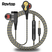 Rovtop магнитные проводные стерео наушники-вкладыши супер бас двойной привод гарнитура наушники для huawei samsung смартфон