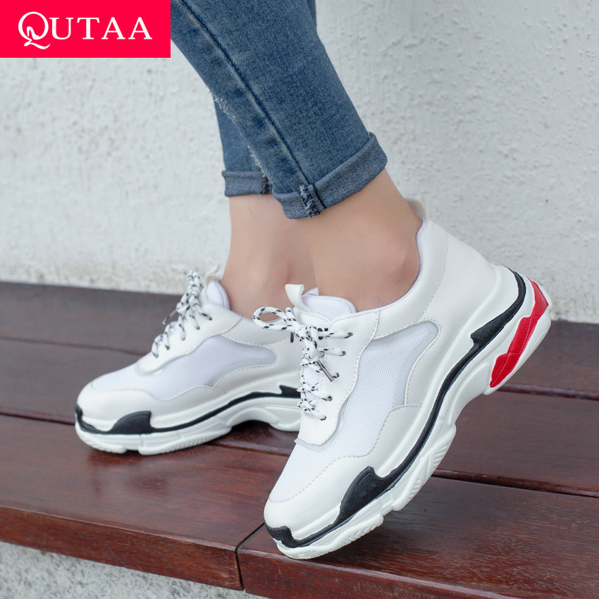 QUTAA 2020 Women Shoes PU+Mesh Wedges Middle Heel Round Toe Mixed Color Lace Up Comfortable Leisure Sneakers Spring Size 34-43