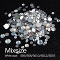Nova venda Mixsize prata base de Strass Flatback Não Hotfix opala Branco 10 Gorss/lot use para Nail art livre grátis