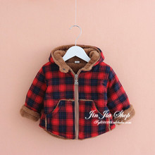 2016 autumn and winter boys and girls plus velvet thick cotton baby children padded jacket coat