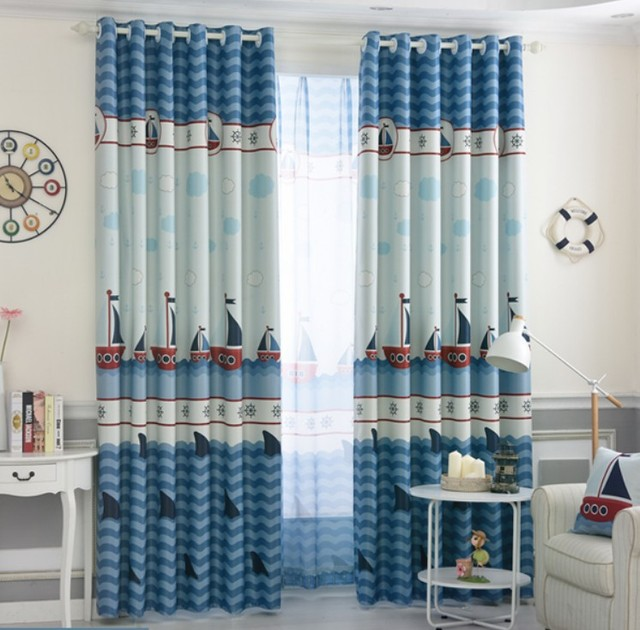 Blue Blackout Curtains for Boys Bedroom Ocean Sea Boat Helm Curtains ...