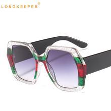 LongKeeper New Oversized Sunglasses Women Brand Designer Luxury Big Frame Vintage Eyewear UV400 Gafas de sol 9044