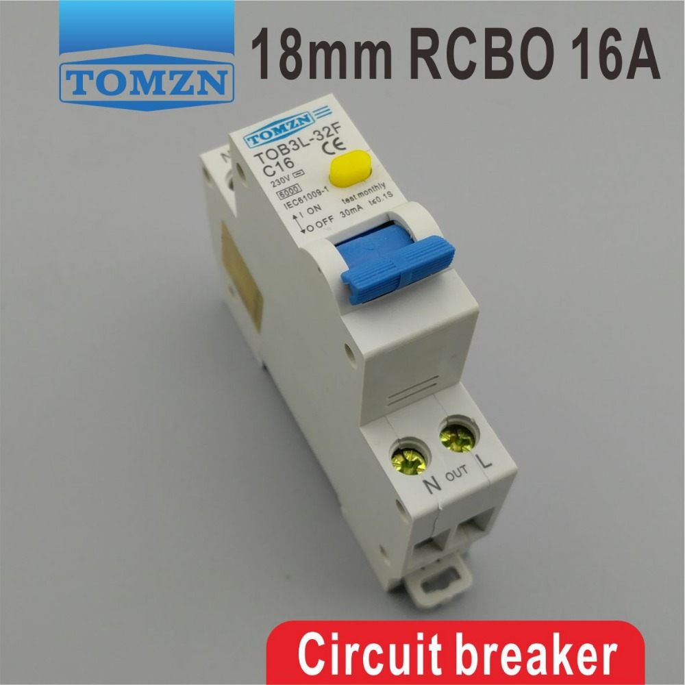 TOB3L-32F 18MM RCBO 16A 1P+N 6KA Residual current Circuit breaker with over current and Leakage protection 18mm rcbo 32a 1p n residual current circuit breaker with over current and leakage protection 30ma