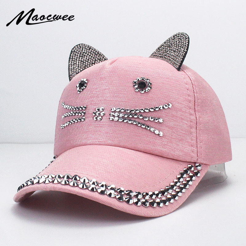 Unisex Baseball Cap Rivets Sun Cowboy Boy Girls Casual Cap Bone Gorro Children Cat Ears Hat Snapback Rhinestones Diamond Cap for