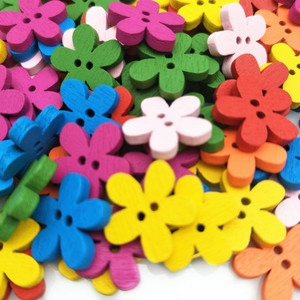 100pc Colorful Flower Wooden Buttons (2 holes button) Sewing Buttons DIY Craft 5BB5716