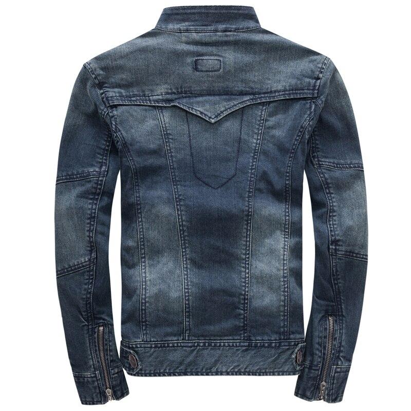 Осенняя джинсовая куртка с капюшоном, Мужская модная джинсовая куртка, Повседневная тонкая Ретро винтажная Хлопковая мужская брендовая одежда - 3