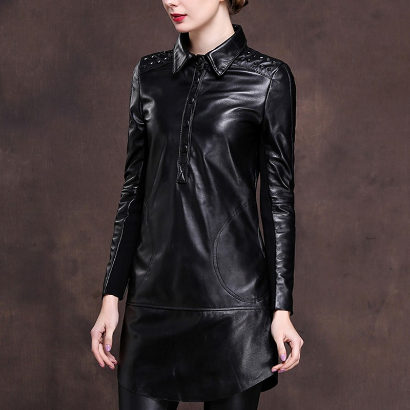 2019 New Office Ladies Lapel Collar Single Breasted Genuine Leather Mini Dress Women Rivet Punk Plus Size M 6XL Loose Fit Robe-in Dresses from Women's Clothing    3