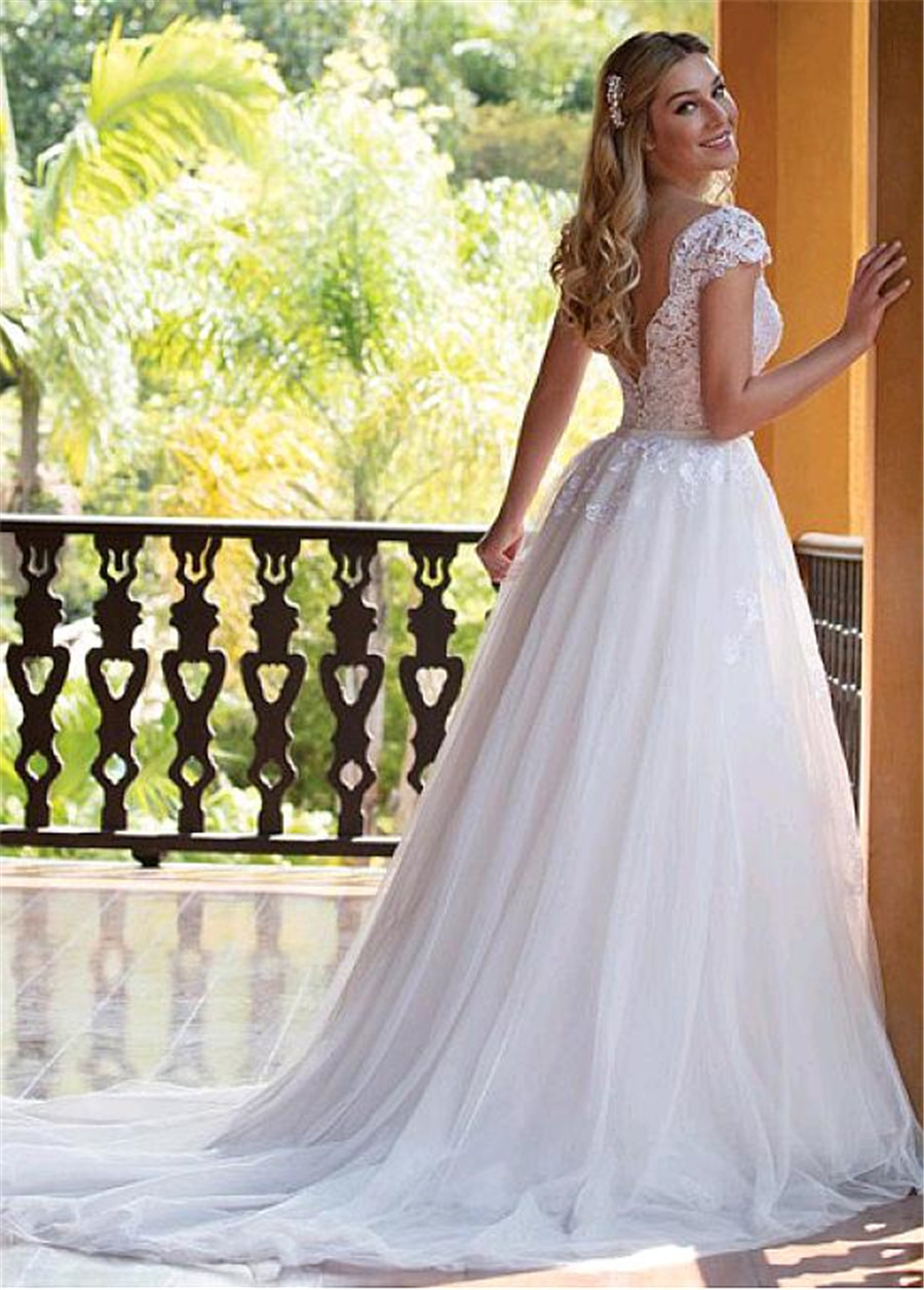 Image 4 - Tulle V neck Neckline 2 In 1 Wedding Dresses With Lace Appliques & Beadings Two Pieces Bridal Dress with Detachable Skirt-in Wedding Dresses from Weddings & Events