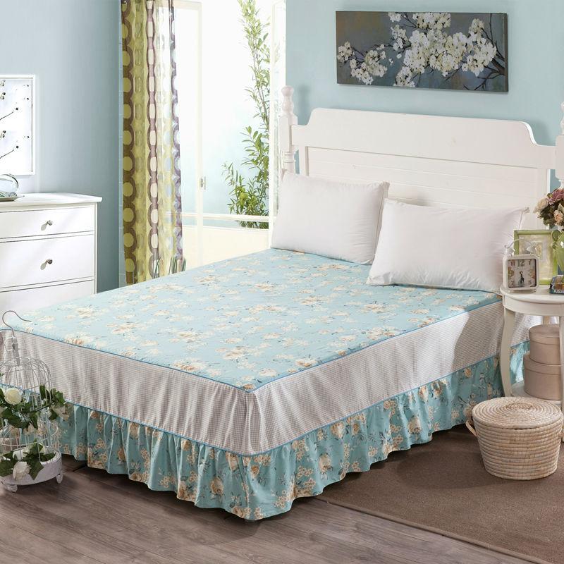 100% Cotton <font><b>Bed</b></font> Skirt 1 Piece <font><b>Bed</b></font> Skirt King Queen Twin Size Printed <font><b>Bed</b></font> Sheet Bedding Lace <font><b>Bed</b></font> Skirt,Mattress Cover,Bedspread