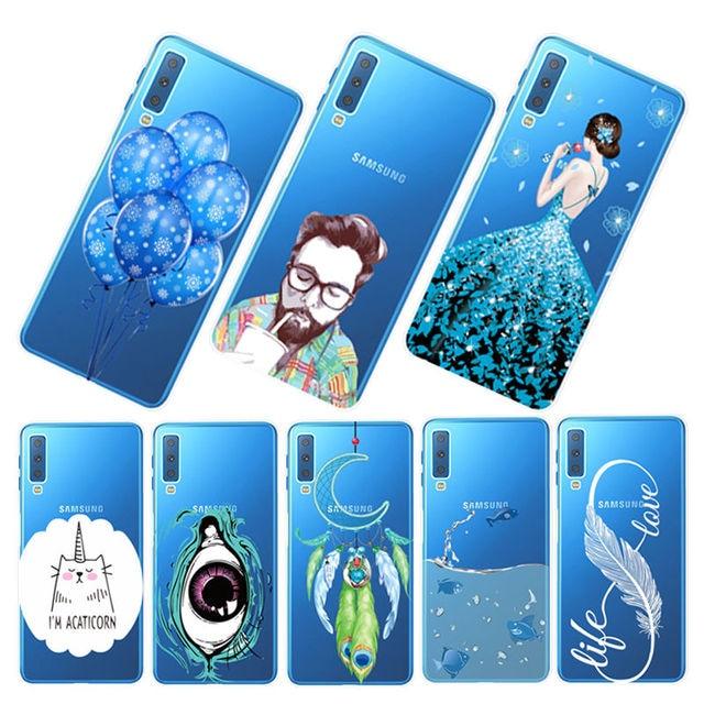 Inteligente cubierta pintada para Samsung A750 A6 A8 Plus 2018 suave TPU Fundas A520 A7 2018 funda protectora Galaxy A9 2018 transparente de silicona caso