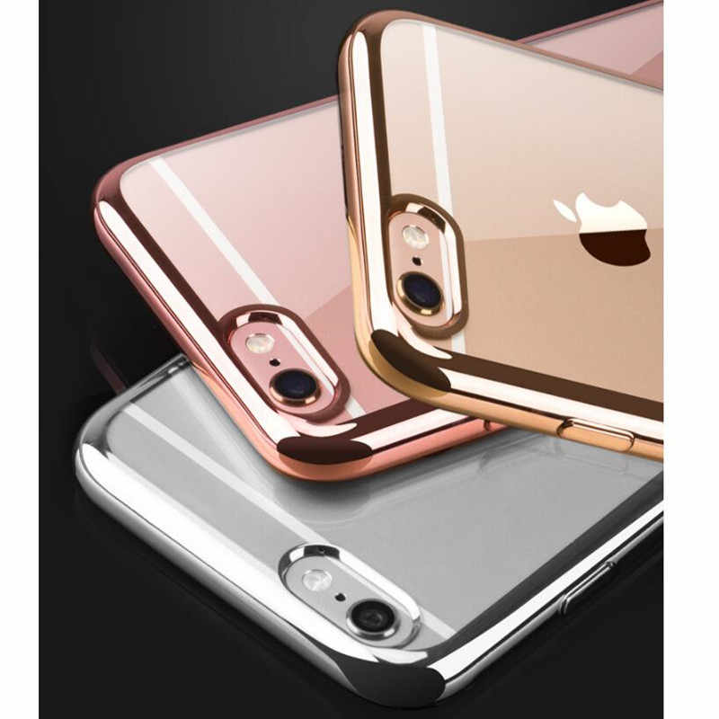Fashion Rose gold Luxury Plating Case For iPhone X XS MAX XR Soft Clear TPU Cover For iPhone 6 7 8 plus ip 11 Pro MAX Case Coque