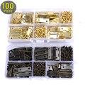 100 piezas Mini trasero bisagras 24mm * 16mm y 400 piezas tornillos (bronce/oro) con caja de plástico, muebles en miniatura gabinete pequeñas bisagras