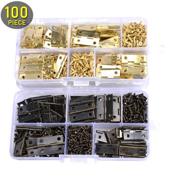100 sztuk Mini zawiasy tyłek 24mm * 16mm i 400 sztuk śruby (brąz złoty) z plastikowym pudełku miniaturowe meble szafka małe zawiasy tanie i dobre opinie Maszyny do obróbki drewna 24mm*mm Meble zawias carbon steel 20mm MC13332