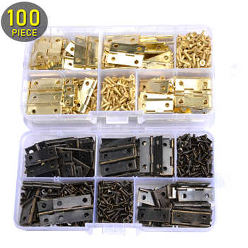 100pcs Mini Butt Hinges 24mm*16mm and 400pcs Screws (Bronze/Golden) with Plastic Box, Miniature Furniture Cabinet Small Hinges - DISCOUNT ITEM  25% OFF All Category
