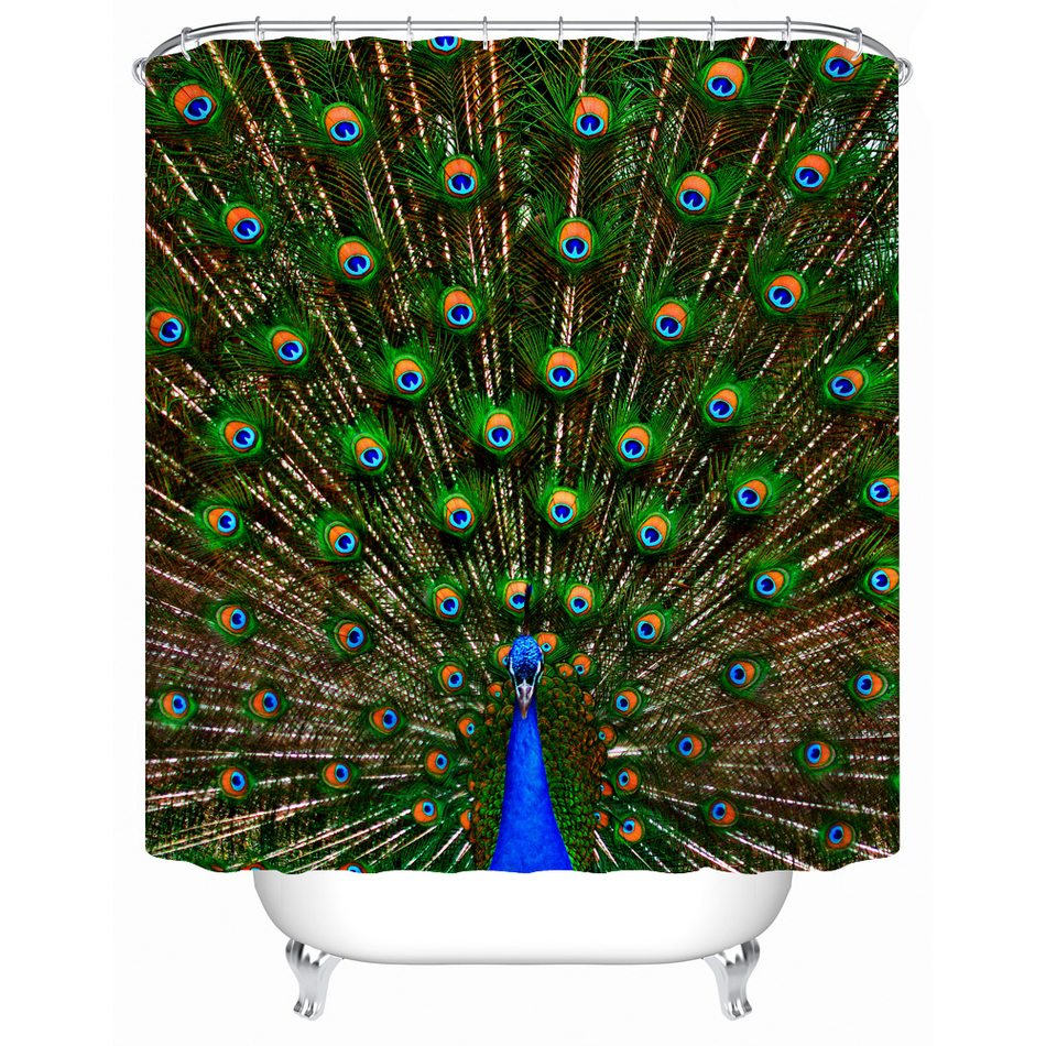 Peacock feather fabric shower curtain quot teal peacock feather quot green - Eco Friendly Fabric Shower Curtain Beautiful Peaco