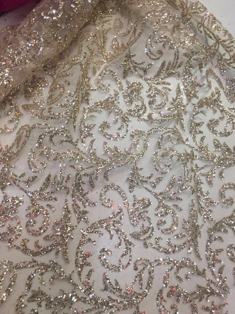 5yards Champagne Gold/ Black  Hand Glued Print Glitter Tulle/ African Dress Fabric