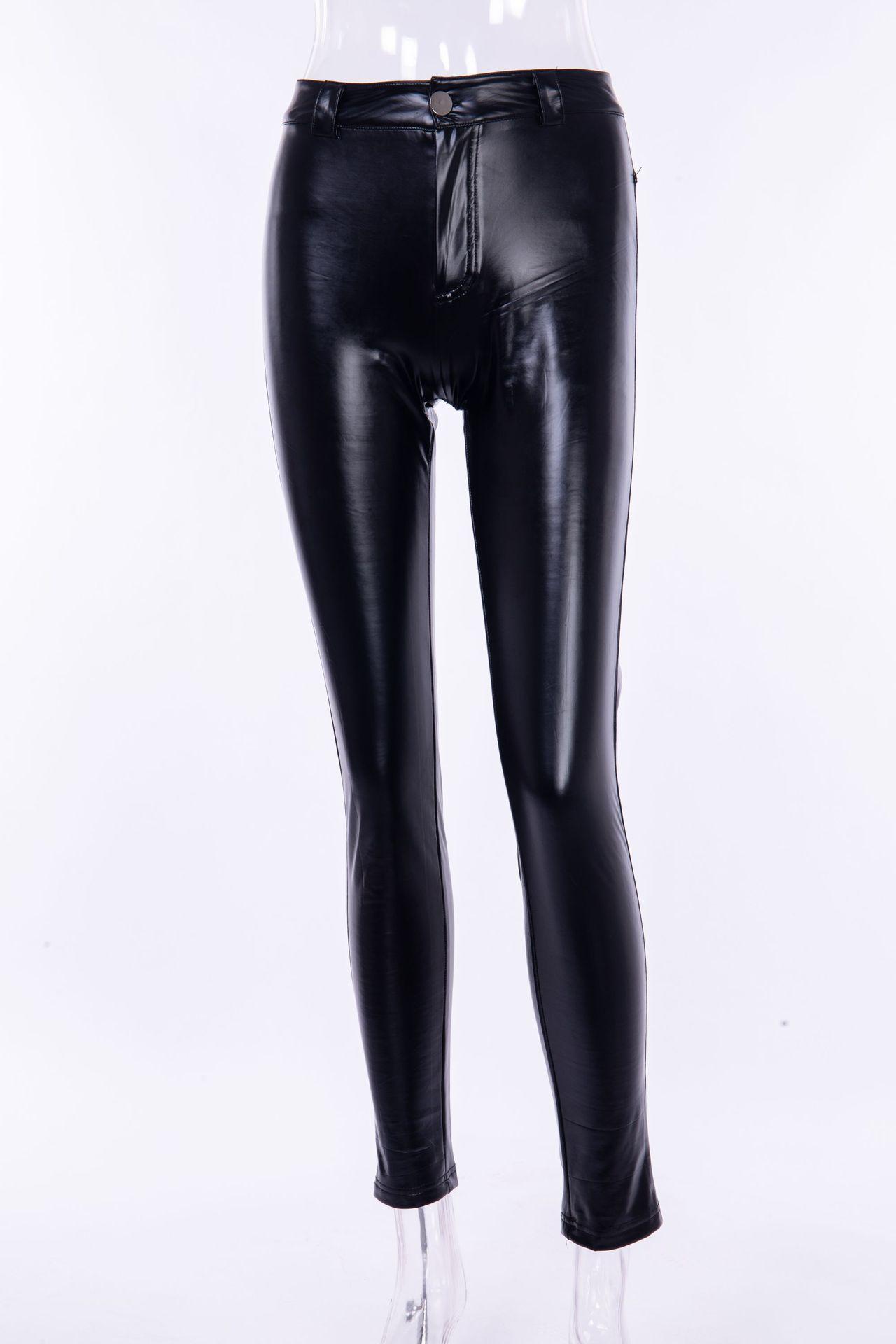 PU Leather Pants Women Elastic Waist Hip Hop Black Sexy ...