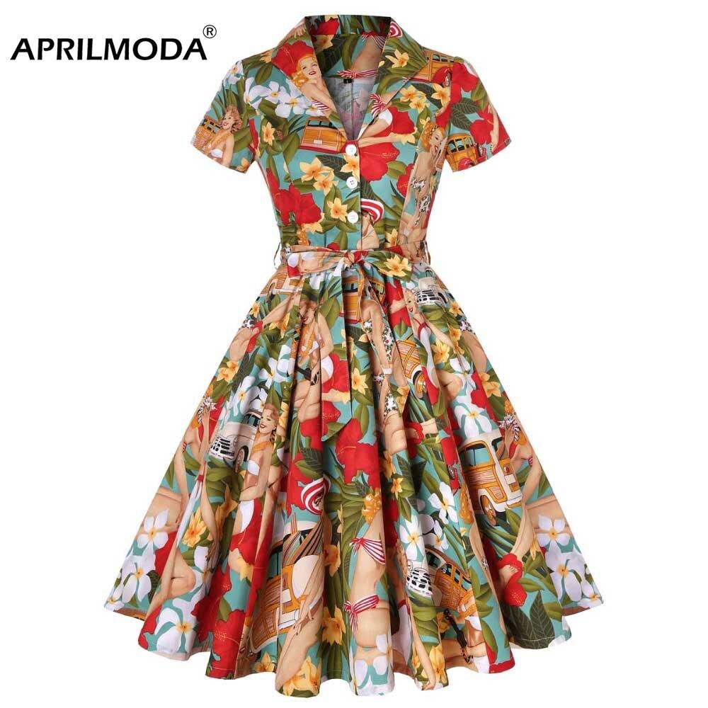 US $26.39 40% OFF|Plus Size Dresses 3XL 4XL Tunic Casual Retro Rockabilly  Dress Vintage Girl Dance Print Floral Robe femme Vintage 50s 60s Dress-in  ...