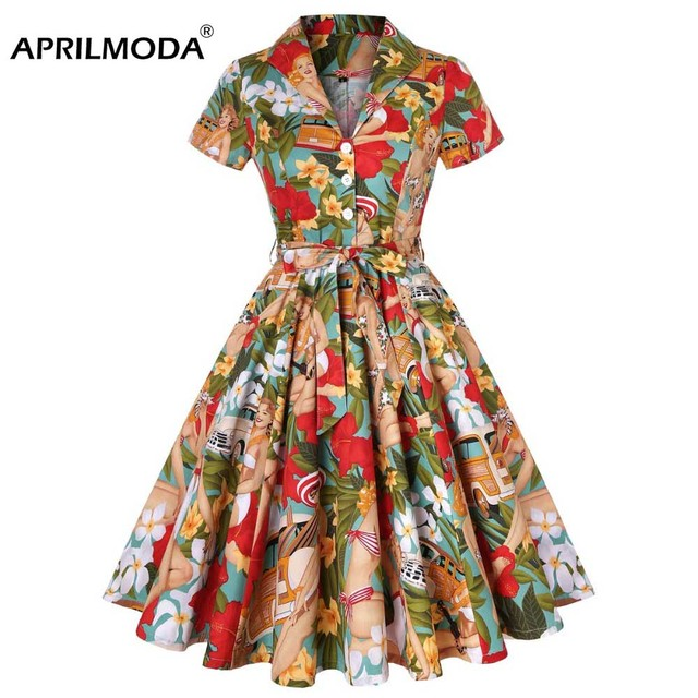 US $28.66 40% OFF|Aliexpress.com : Buy Plus Size Dresses 3XL 4XL Tunic  Casual Retro Rockabilly Dress Vintage Girl Dance Print Floral Robe femme ...