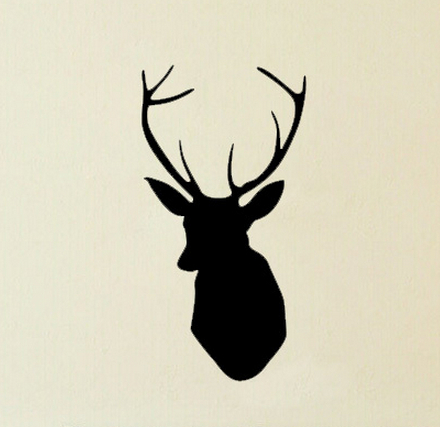 free shipping handsome faux deer head wall stickers deer. Black Bedroom Furniture Sets. Home Design Ideas